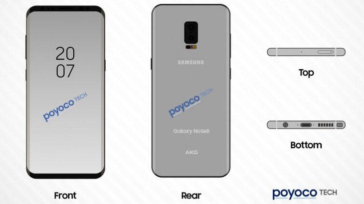 Изтекоха първи скици на Samsung Galaxy Note 8