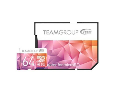 64GB Team Group Color Card II Micro SDXC + SD Adapter, розов на супер цени